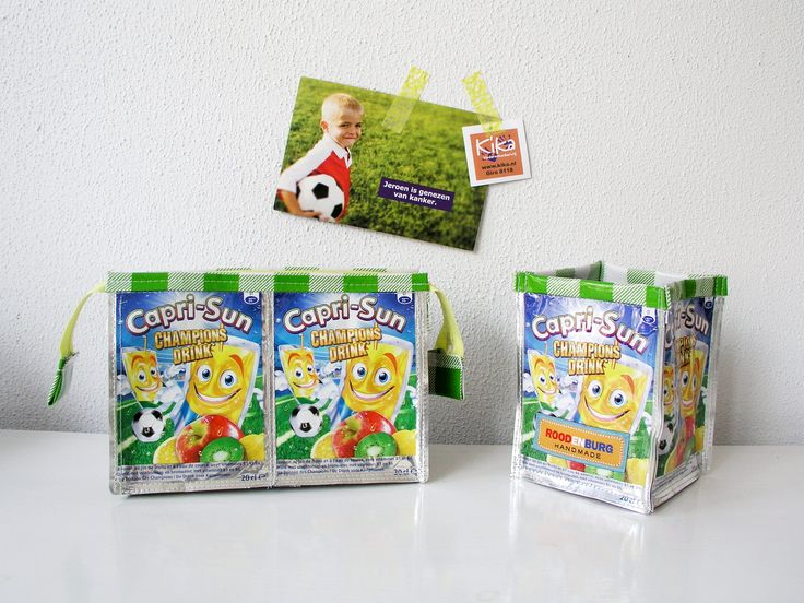 Etui en pennenbakje gemaakt van lege Capri Sun pakjes. Voor het goede doel want bij aankoop steun je stichting KiKa, Kinder Kankervrij. http://www.studioroodenburg.nl/