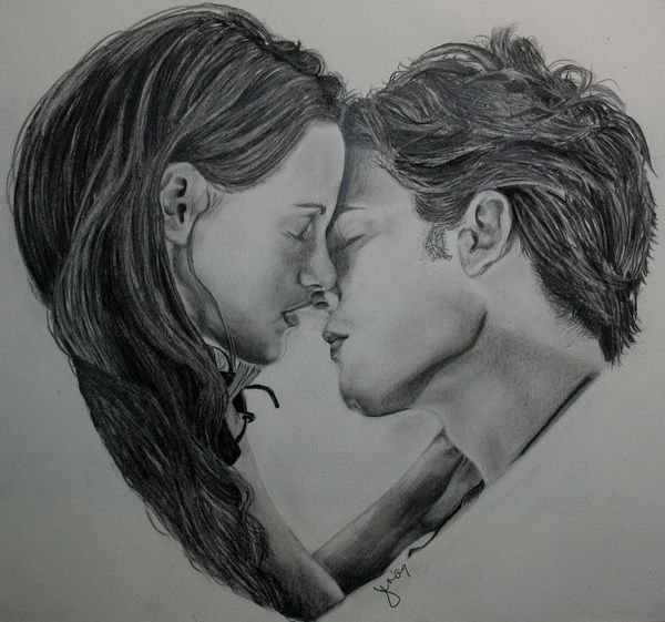 Heart Bella and Edward - 10  Cool Heart Drawings for Inspiration, http://hative.com/heart-drawings/,