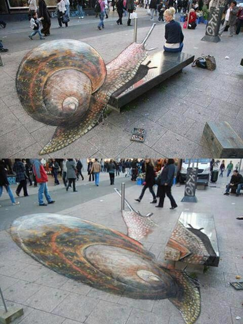 """3D street art.  Top shows how chalk art supposed to appear, and lower is how it is actually drawn.  You have to stand in the right area to see it the """"right"""" way."""