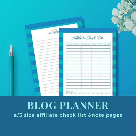 Blog Affiliate Check List / Blog Planner Inserts / Blog