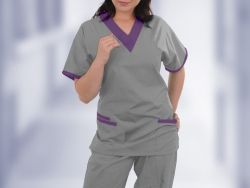 Flattering nurses scrubs, available in a huge range of colours and trim - made to order for the perfect look for your organisation