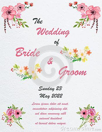 Wedding invitation card with flowers, and dividers, ideal for weddings. Pink and grey colors. Editable