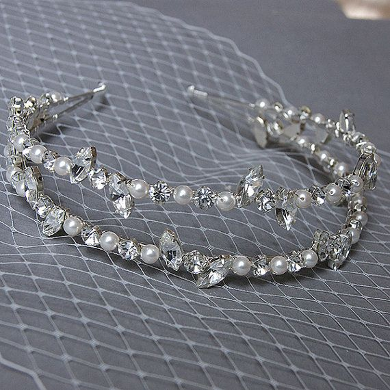 Double Bridal Headband Pearl Rhinestone Crystal by WeddingAndGems, £65.00
