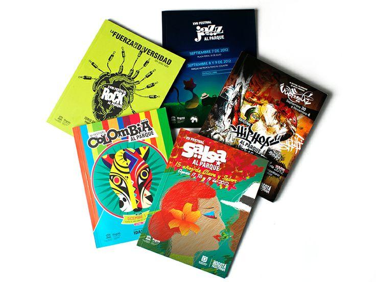 Catálogos / Festivales al Parque. Diseño editorial y diagramación: Oscar Zambrano.   Fotografía: Carlos Lema. Bogotá, 2012.