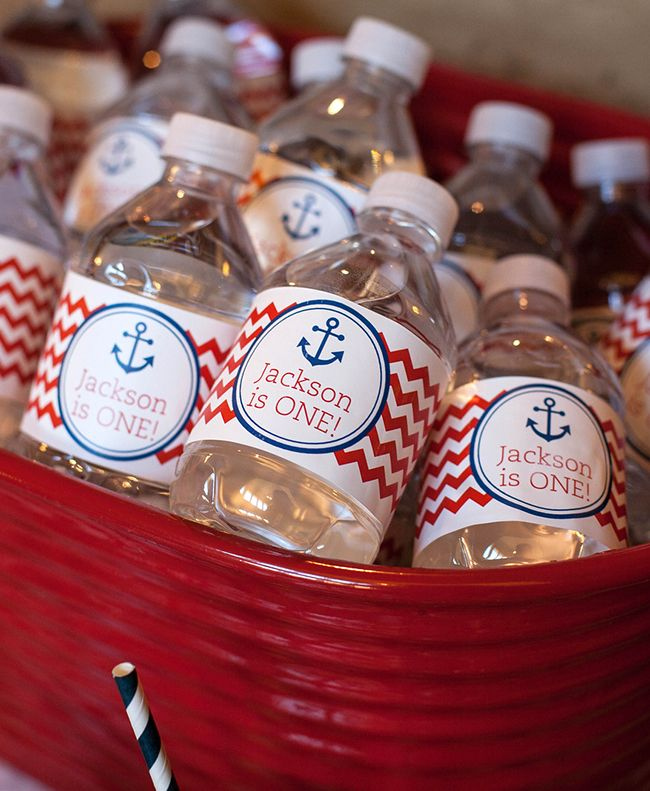 Nautical theme birthday party - personalized water bottle labels from Chickabug