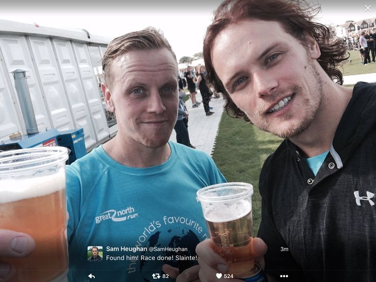 Outlander Sam Heughan and his brother  Cirdan after the Great North Run for @bloodwise-UK 9/11/16 Source: Sam's tweeter.