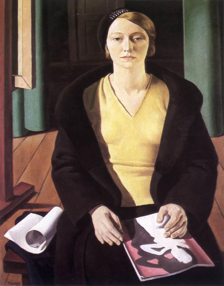 Pándy, Lajos - Portrait of a Woman - Art Deco - Portrait - Oil on canvas 1932  Hungarian National Gallery, Budapest