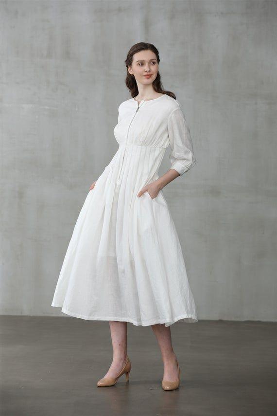 Vintage 1950s Brown Linen dress with White Organza Shrug