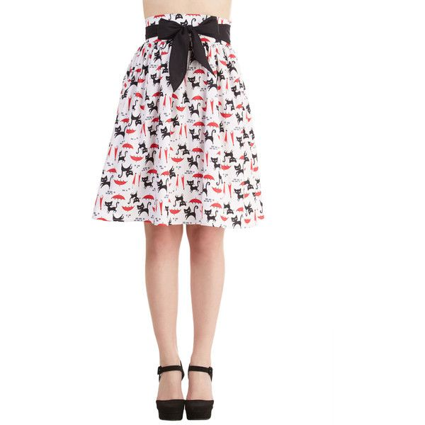 50s Mid-length High Waist Designer Dreams Skirt (€31) ❤ liked on Polyvore featuring skirts, patterned skirt, high-waist skirt, print skirt, white knee length skirt and white skirt