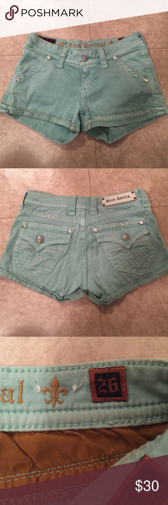 Rock Revival Mint Shorts Like new, worn only a couple times! Super cute mint color. Very soft material. 2'' inseam. Amazing condition! Rock Revival Shorts