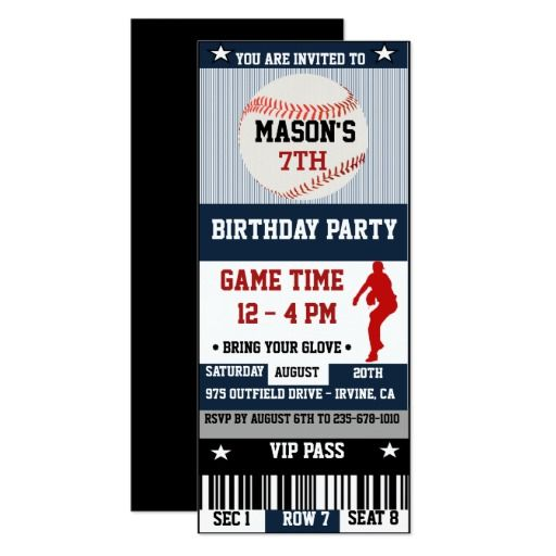 427 best baseball birthday party invitations images on pinterest baseball birthday ticket invitation stopboris Image collections