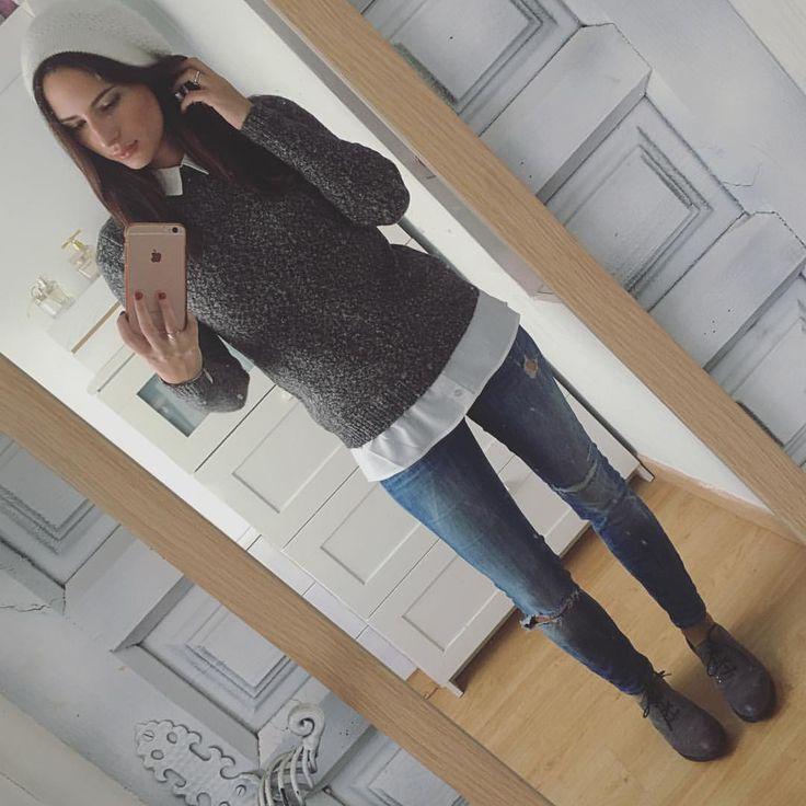 "Isabel Sanz en Instagram: ""Outfit completo Gorro: me lo trajo mi mami de Praga ☺️ Jersey: @primark Jeans: @zara Zapatos: @stonefly_shoes"""