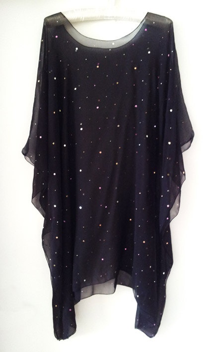 Embroidered Foil spots chiffon kaftan top by CocoDamour on Etsy, $55.00