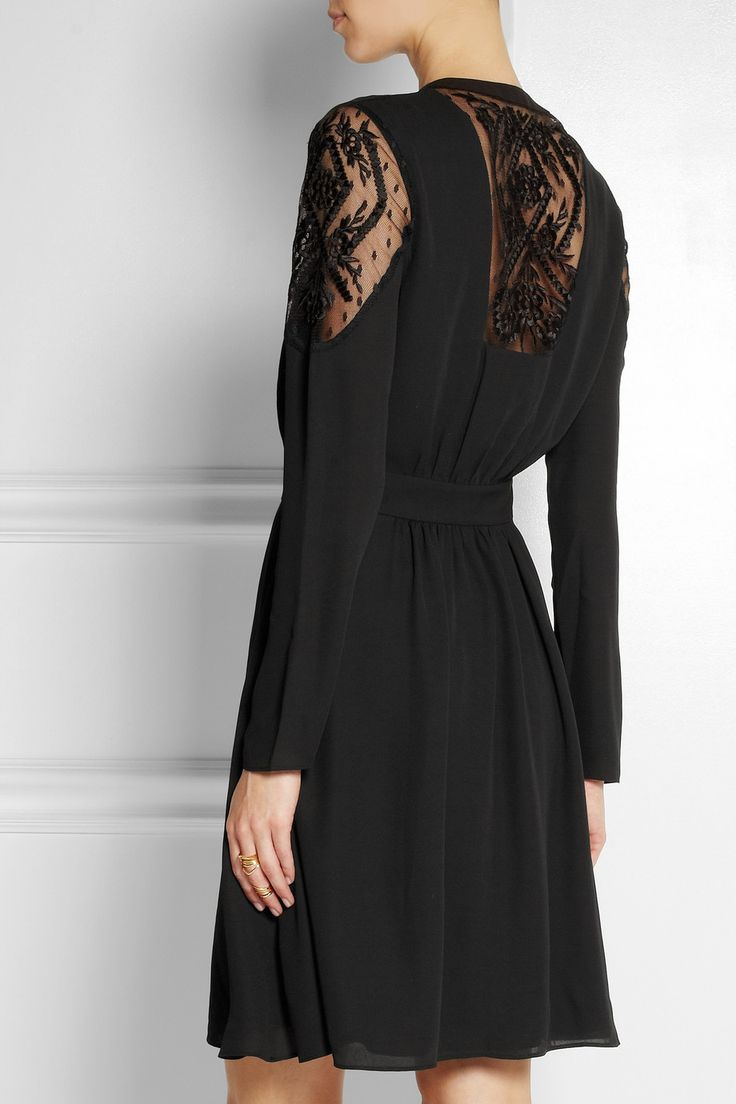 ALICE by Temperley | Robe en crêpe à empiècements en tulle brodé…