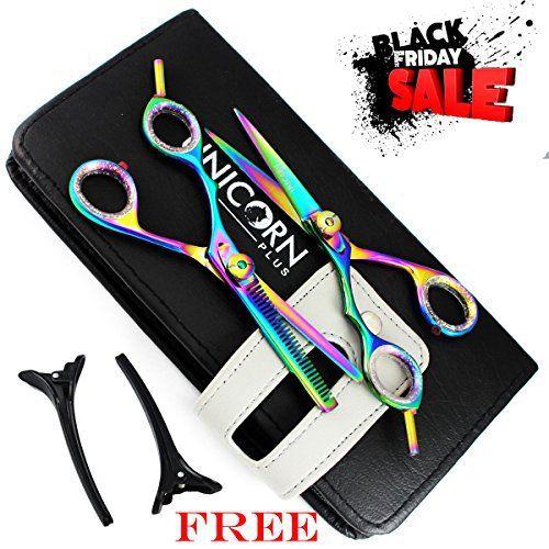 Black Friday Vente – 2 gaucher cheveux ciseaux – Ciseaux de coiffure professionnels – ciseaux en acier japonais set – rasoir de couper les…