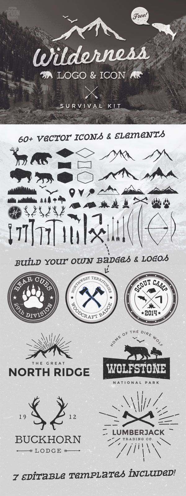best ideas about logo templates logo stamp awesomesauce vector kit on spoon graphics wilderness logo and icon survivial kit