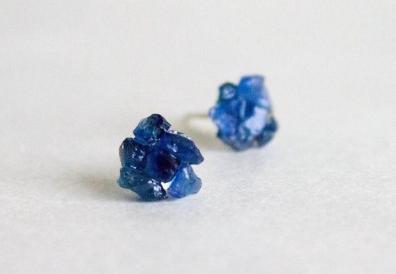 Navy Blue Studs Dark Blue Sapphire raw stud by CraftsGardenOfZen