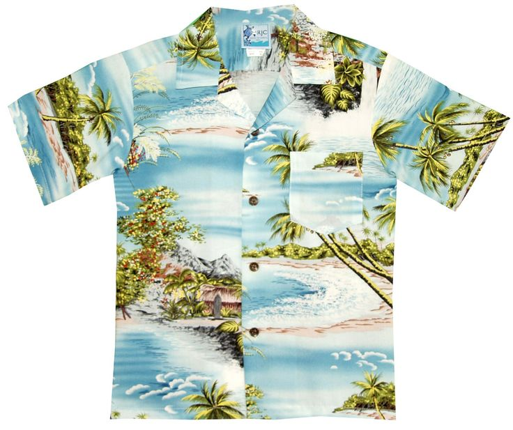 RJC Boys Paradise Island Surf Rayon Shirt Blue 10. Coconut buttons. Straight bottom hem. Pocket not matched. Back yoke with side pleats. Please refer to our SIZING INFO below.