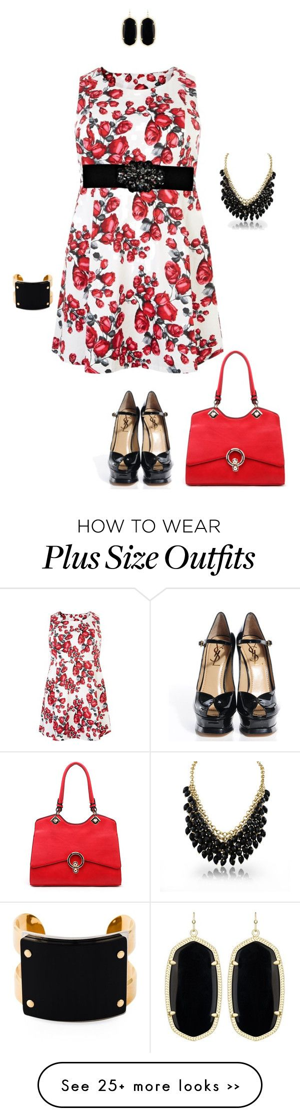"""""""Properly- plus size"""" by gchamama on Polyvore featuring Samya, Boohoo, Yves Saint Laurent, MKF Collection, Kendra Scott and Marni"""