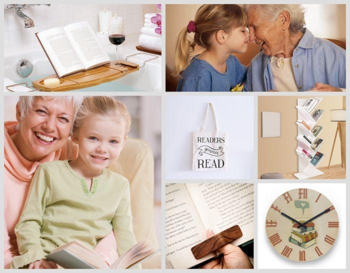idee cadeau fete des grand mere pour les mamies qui aiment lire, accessoire pour fans de lecture, horloge à design livres, rangement verticale pour livre