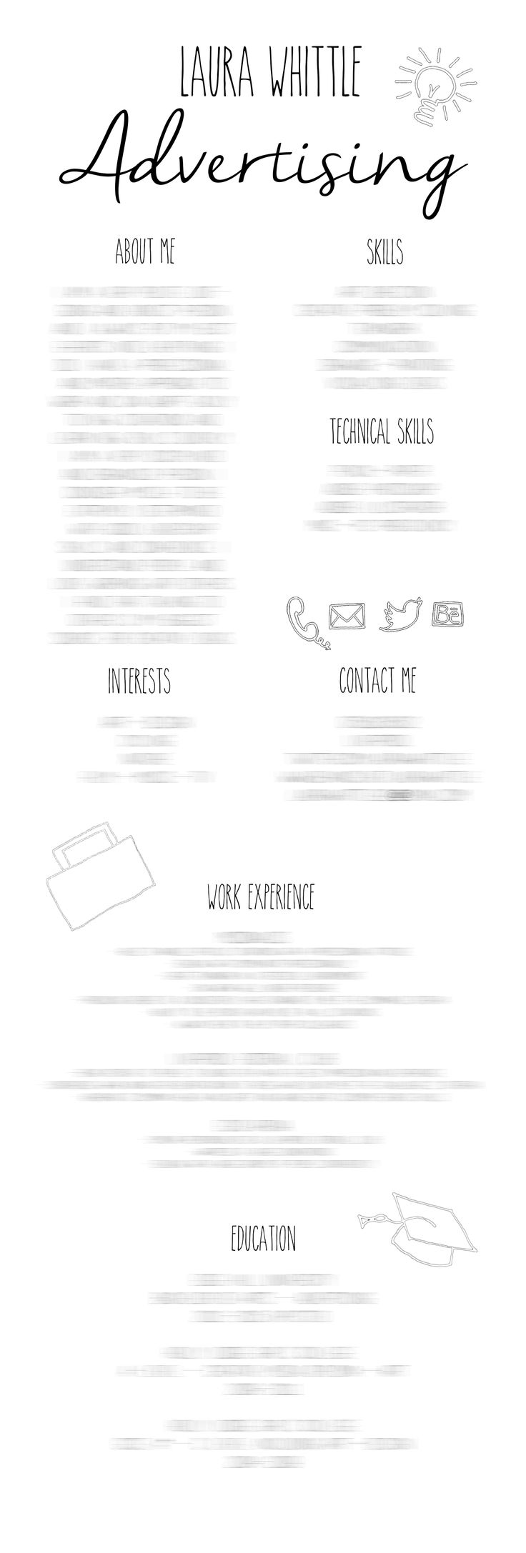Creative CV Layout - simple, black  white, advertising, branding, student