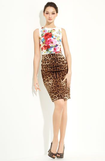 Dolce&Gabbana Mixed Print Stretch Silk Dress <3