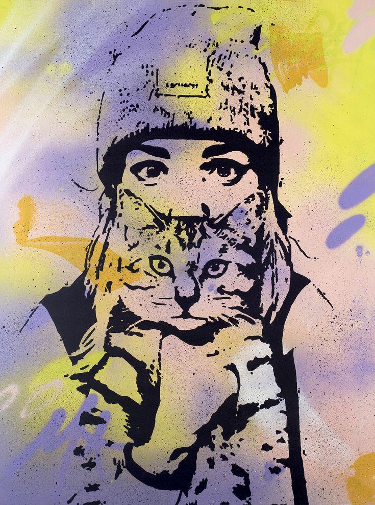 "Peam's • ""Cat and woman"" • Technique mixte sur toile • KAZoART #art #artcontemporain #contemporaryart #oeuvre #galeriedart #artgallery #streetart #femme #chat #cat #woman"