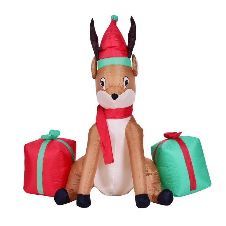 Kemper King Christmas Inflatable Reindeer Animated Airblown Xmas Holiday Home Yard Decoration