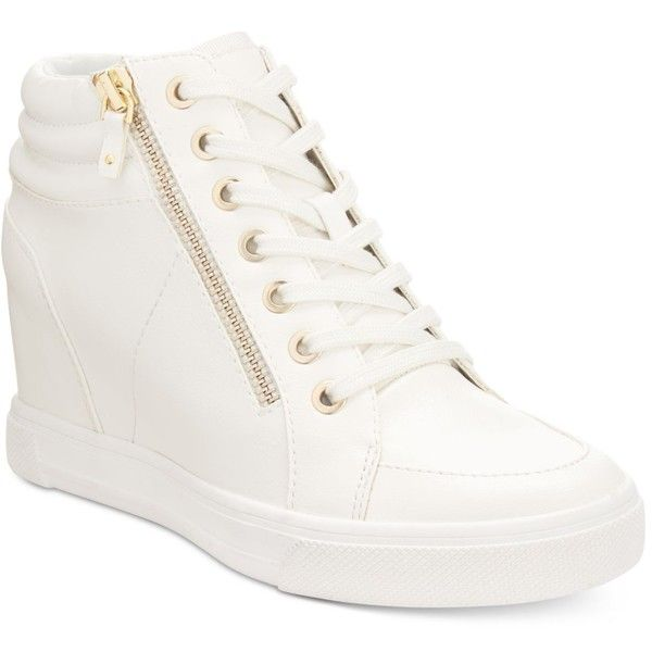 Aldo Women's Ottani Wedge Sneakers ($85) ❤ liked on Polyvore featuring shoes, sneakers, white, wedged sneakers, wedge sneaker shoes, wedge trainers, white sneakers and aldo