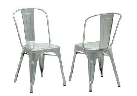 Chaise de salle à manger Monarch Specialties en métal galvanisé lustré | Walmart.ca