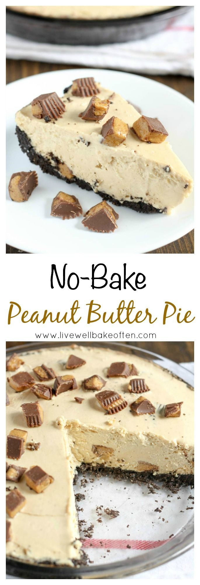 An easy no-bake peanut butter pie with a homemade Oreo crust!
