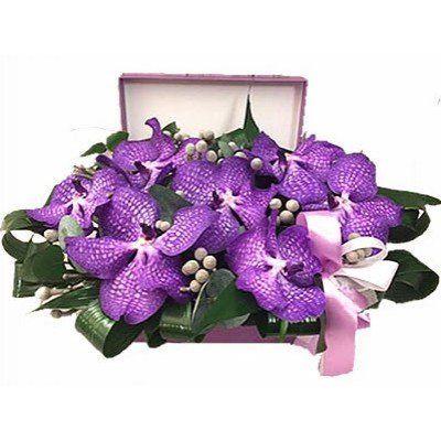 7 цветков ванды, 4 брунии, 4 аспидистры, 0,5 эвкалипта в коробке размером 24х17х10 см