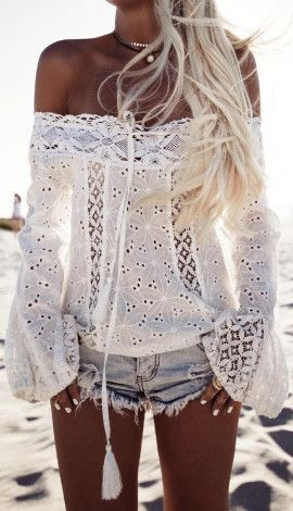 Boho lace off the should long sleeved shirt shorts Summer