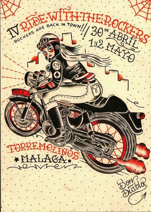 cafe racer traditional tattoo style