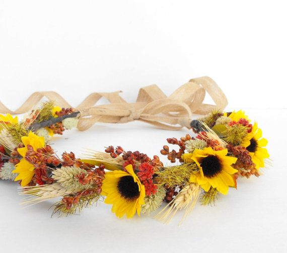 Fall Wedding Hair Crown-Autumn Wedding Headpiece-Sunflower Wedding-Rustic Wedding-Boho Wedding-Rustic Headdress-Sunflower Head Crown