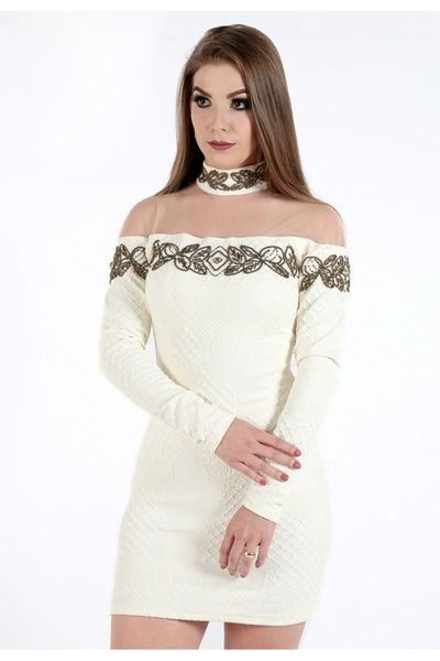 127cfed8e Vestido da Zigma em Jacquard Savyon, com delicados bordados no peito,  mangas e gola