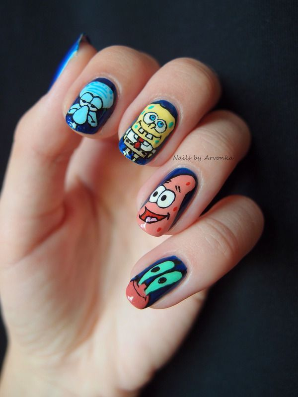 Spongebob and Friends - Nail Art Another one my friends gonna have to do.