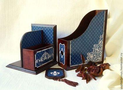 """Комплекты аксессуаров ручной работы. Ярмарка Мастеров - ручная работа Кабинетный набор """"Dark Blue Daimond"""". Handmade."""
