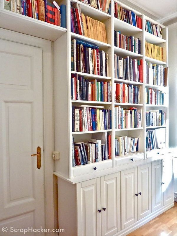 DIY Customized Billy Built ins. Ways to use ikea bookshelves all rooms of house / organization