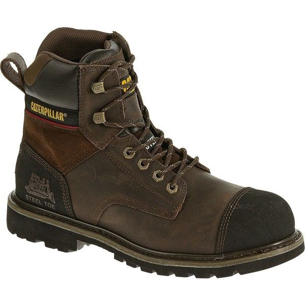 """Caterpillar Traction 6"""" Steel Toe Work Boot (8.435 RUB) ❤ liked on Polyvore featuring men's fashion, men's shoes, men's boots, men's work boots, dark brown, caterpillar mens boots, mens steel toe boots, mens steel toe work boots and mens rugged boots"""