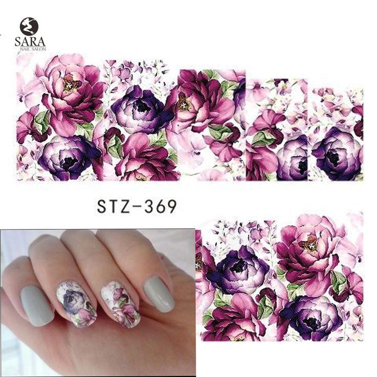 사라 네일 살롱 1 개 물 전송 스티커 아트 보라색 꽃 네일 스티커 워터 마크 손톱 데칼 SASTZ369