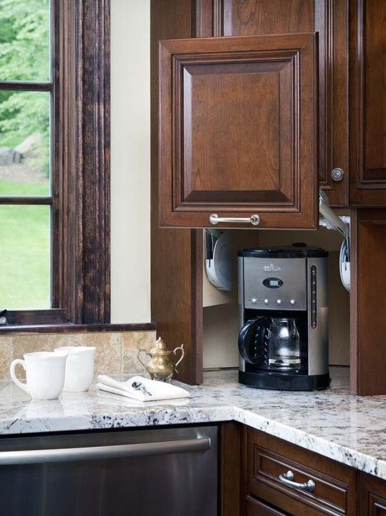 The 25 best appliance cabinet ideas on pinterest diy for Appliance garage kitchen cabinets