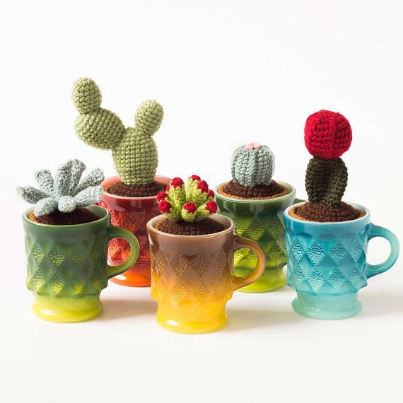 Crochet ET fingers cactus in vintage gold by FinelyCraftedModern