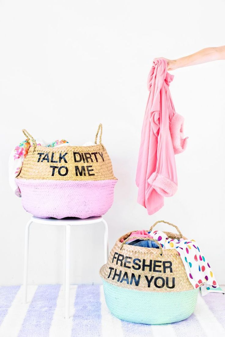 Make These Funny DIY Graphic Laundry Baskets With Baskets, Paint And Letter  Stickers For Your Dorm Room Or Small City Apartment! Part 60