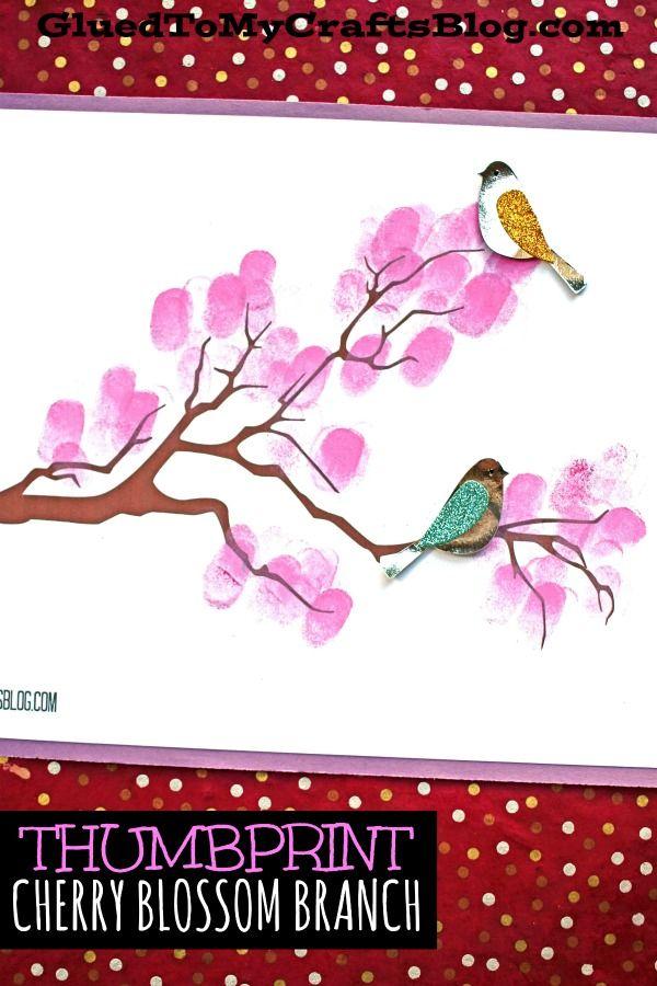 Thumbprint Cherry Blossom Tree Branch Kid Craft Idea For Spring Cherry Blossom Branch Cherry Blossom Tree Spring Tree