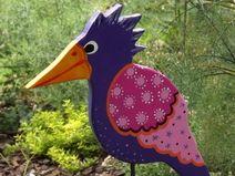 Gartenstecker Vogel, Lila, Pink, Gartendeko bunt