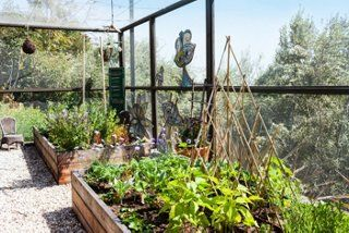 """An enclosed edible garden creates the feeling of being an outdoor """"room"""" with fairy lights and art, whilst also protecting fruit and vegetables from animals"""