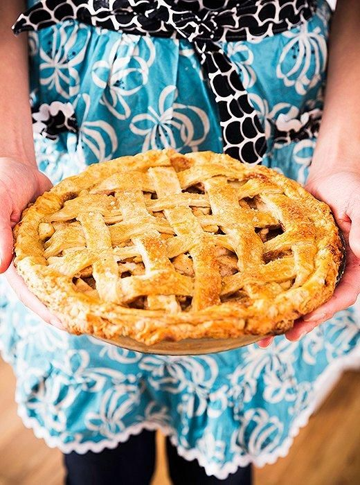 How to Host Your First Thanksgiving with Help from the Pie Pros -- One of our editors gets some tips from the professional pastry chefs and bakers behind 4 & 20 Blackbirds, to make her own salted caramel apple pie using their easy and delicious recipe, shown here with a golden skinny lattice crust. Use the salted caramel apple pie recipe and her tips from the pros to bake your own pie this Thanksgiving!