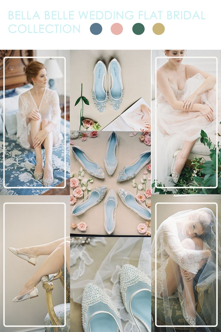 Whether tall or short, wedding flats are in and will keep your feet comfortable on the dance floor. Bella Belle's Enchanted bridal flats collection is feminine, elegant and has a timeless appeal. From Allegra, a floral and lace flat that exhibits a romantic feel to Hailey, for a more fairy tale appeal, or Willow  for a Grecian inspired theme, these wedding flats are perfect for any occasion.   Photography by Kurt Boomer.