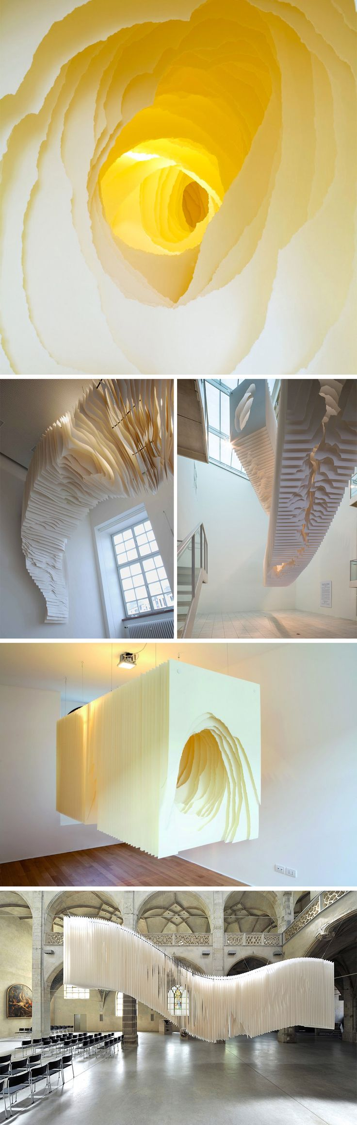 Deep Tunnels and Caves of Suspended Torn Paper by Angela Glajcar